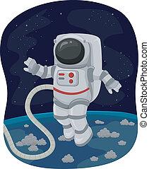 espacio, astronauta, caminata