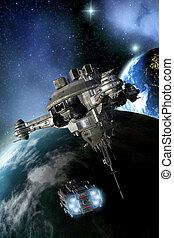 espacio, batalla, estación