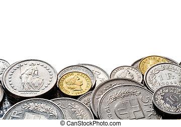 espacio, borde, pila, francos suizos, copia