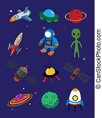 espacio, caricatura, icono