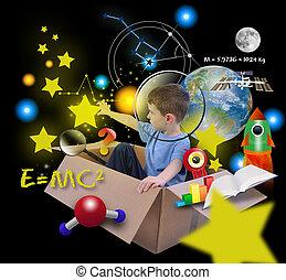 espacio, ciencia, niño, en caja, con, estrellas, en, negro