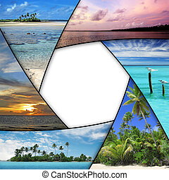 espacio, collage, foto, tropical, mares, blanco