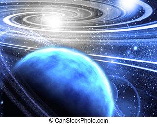 espacio, con, anillado, planeta