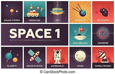 espacio, -, conjunto, de, plano, diseño, infographics, elementos