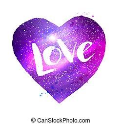 espacio, corazón, con, amor, palabra, letras