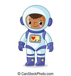 espacio, de piel oscura, fondo., astronauta traje, blanco