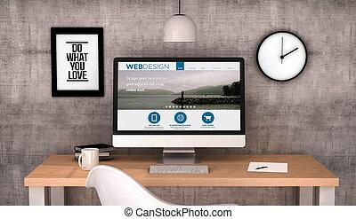 espacio de trabajo, computadora, con, diseño telaraña, sitio, pantalla