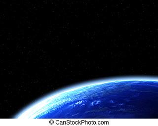 espacio, escena, con, tierra
