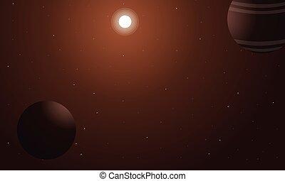 espacio exterior, con, planeta, de, paisaje