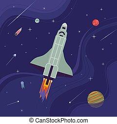 espacio, exterior, icono