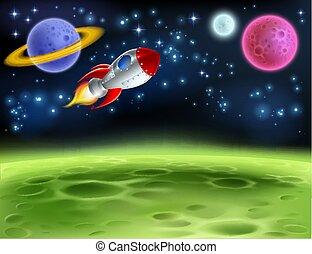 espacio exterior, planeta, caricatura, plano de fondo