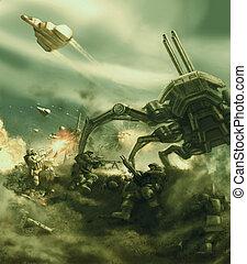 espacio, infantería, repels, el, ataque, de, el, gigante, extranjero, araña, tank.