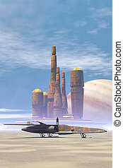 espacio, luchador, y, ciudad, en, un, desierto, planeta