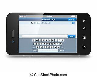 espacio, móvil, menú, sms, screen., teléfono, texto