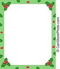 espacio, marco de la foto, saludo, navidad, vector, verde,...