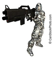espacio, marina, con, grande, arma de fuego