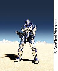 espacio, marina, en, metálico, armadura