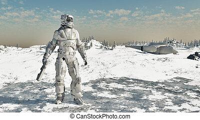espacio, marina, -, hielo, guerrero
