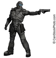 espacio, marina, soldado de caballería, con, pistola