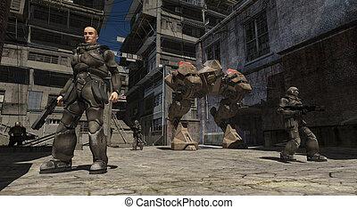 espacio, marina, urbano, combate, patrulla