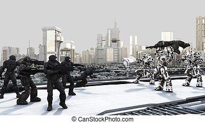 espacio, marinos, y, combate, droids