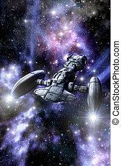 espacio, nave espacial, crucero