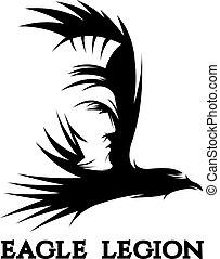 espacio negativo, vector, concepto, de, guerrero, cabeza, en, águila