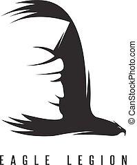 espacio negativo, vector, concepto, de, spartan, cabeza, en, ala, de, águila