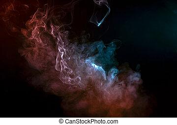 espacio, patrón, el evaporarse, liso, ondas, de, humo,...