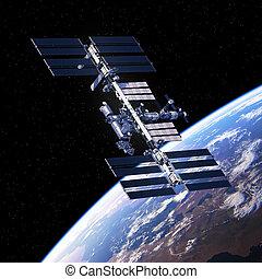 espacio, planeta, estación, internacional, el moverse en órbita alrededor, tierra