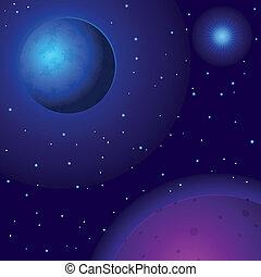 espacio, planetas, estrellas