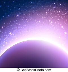 espacio, plano de fondo, con, planeta, y, brillar, sun., vector, ilustración