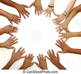 espacio, símbolo, niños, multiracial, medio, plano de fondo, manos, conceptual, elaboración, blanco, copia, círculo