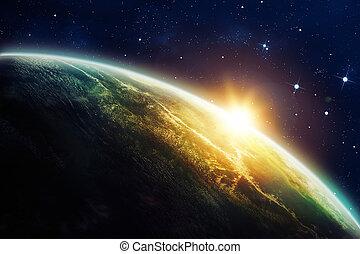 espacio, salida del sol