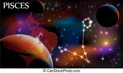 espacio, -, señal, astrológico, piscis, copia
