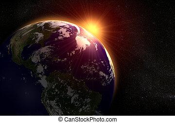 espacio, sol, atrás, levantamiento, tierra, paisaje