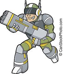 espacio, soldado de caballería, vector, ilustración