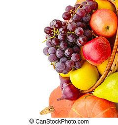 espacio, text., aislado, libre, fondo., fruta, vegetal, blanco