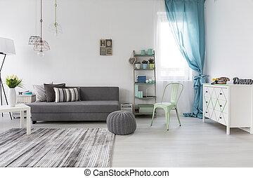 espacioso, sala, con, cómodo, sofá
