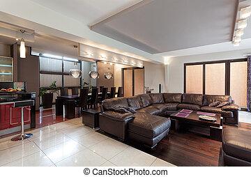 espacioso, sala, en, un, lujo, casa