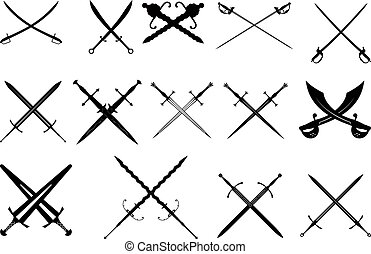 espada, conjunto, negro