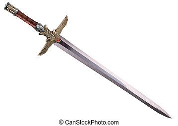 espada, disposto, por, diagonal, isolado, branco, experiência.