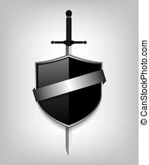espada, e, pretas, escudo