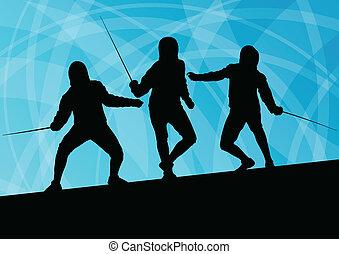 espada, esgrima, resumen, hombres, joven, ilustración, luchadores, vector, plano de fondo, activo, siluetas, deporte