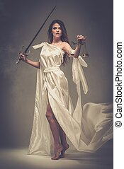 espada, justiça, deusa, escalas, femida