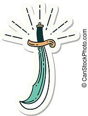 espada, pegatina, estilo, tatuaje, cimitarra