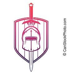 espada, protector, blanco, casco, medieval