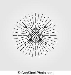 espada, vector, ilustración, diseño, símbolo, hipster, vendimia