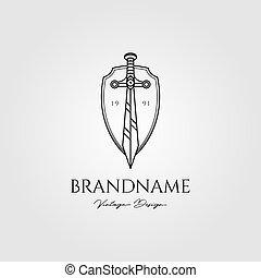 espada, vector, protector, ilustración, diseño, logotipo, vendimia
