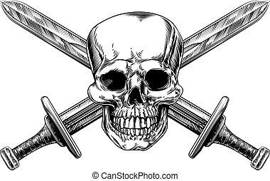 espadas, crucifixos, cranio